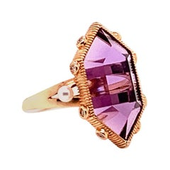 8.04 Carat Amethyst Ring in 18 Karat Rose Gold with Diamonds and Pearls