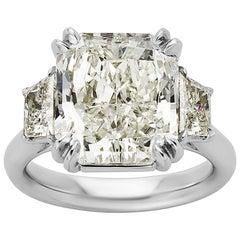 8.04 Carat GIA Diamond Platinum Three-Stone Ring