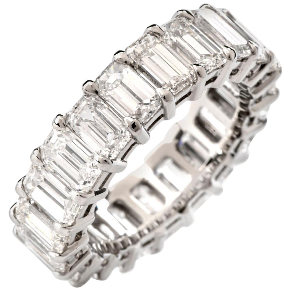8.04 Carat Oval GIA Diamond Platinum Eternity Band Ring