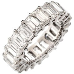 8.04 Carat Oval GIA Diamond Platinum Eternity Band Ring