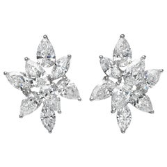 8.05 Carat Cluster Pear Marquise Diamond 18 Karat White Gold Stud Earrings