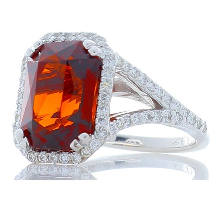 8.05 Carat Emerald Cut Spessartite Garnet and Diamond White Gold Cocktail Ring In New Condition For Sale In Chicago, IL