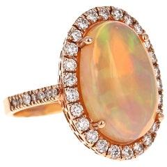 8.07 Carat Opal Diamond 14 Karat Rose Gold Ring