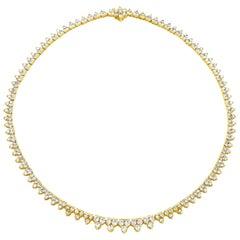 8.08 Carat Cluster Diamond Tennis Necklace