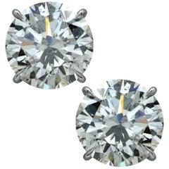 8.08 Carat Round Brilliant Cut Diamond Solitaire Stud Earrings