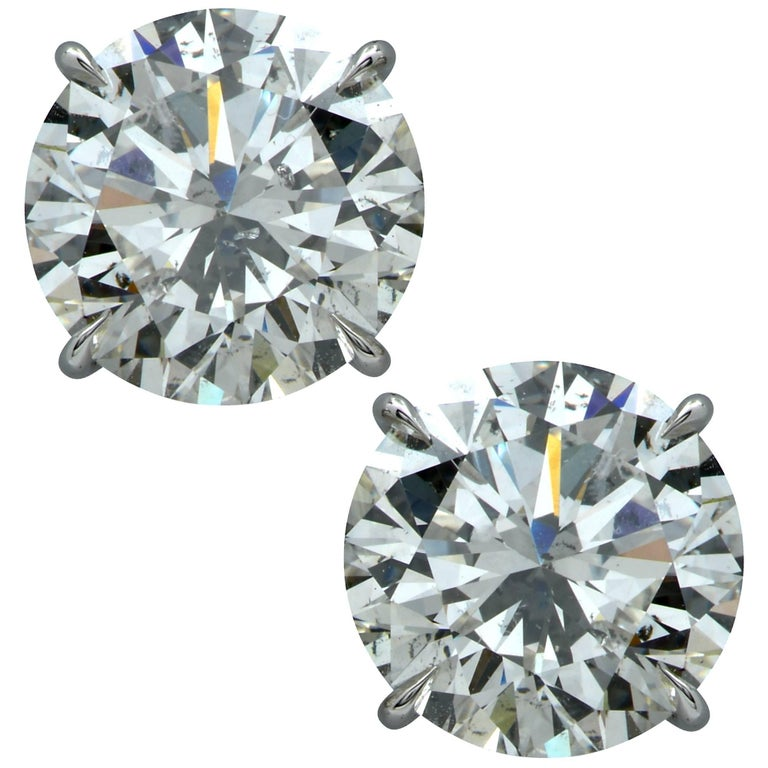 8.08 Carat Round Brilliant Cut Diamond Solitaire Stud Earrings For Sale