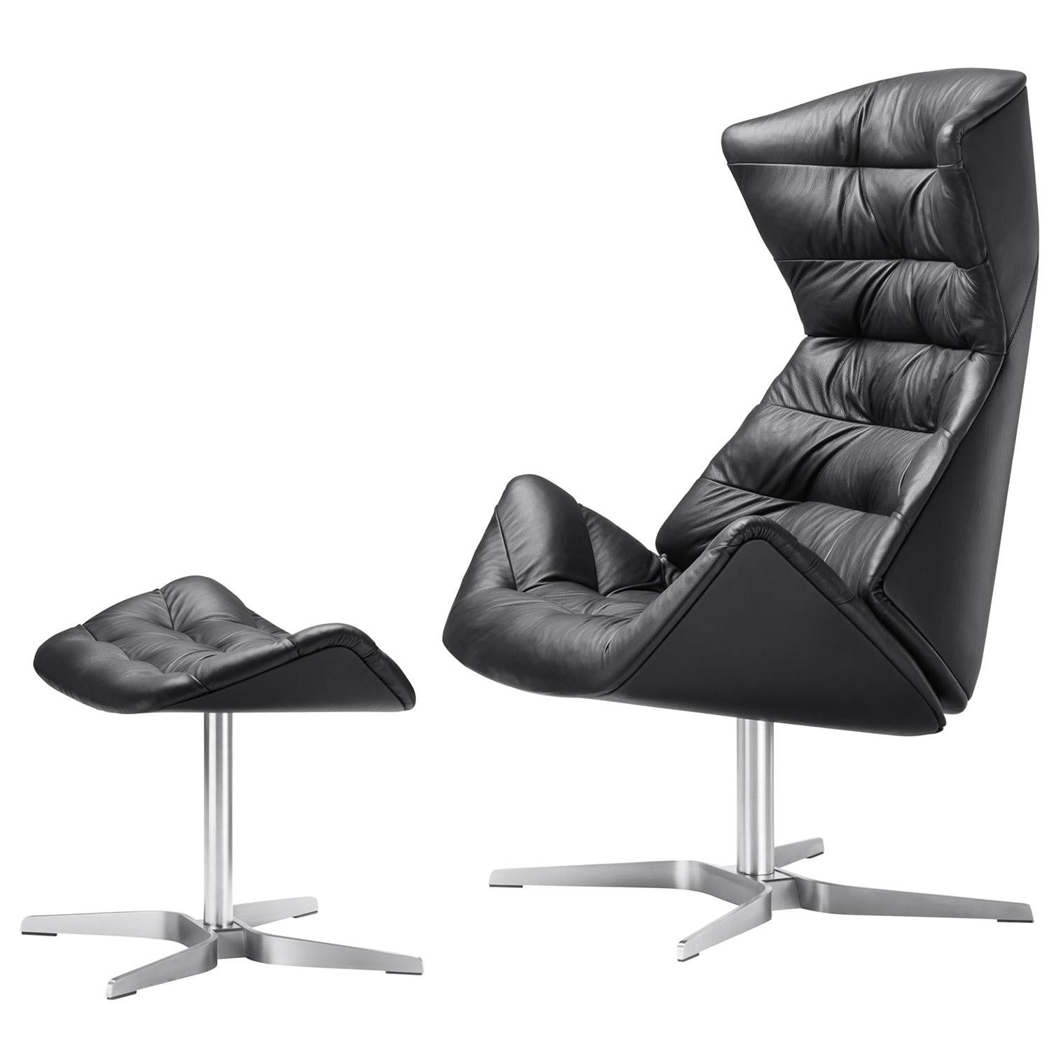 808 Swivel Recliner Lounge Leather Chair with Ottoman Designed by Formstelle