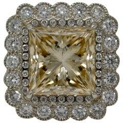 8.09 Carat Light Brown Princess Cut Diamond Cocktail Ring in Platinum