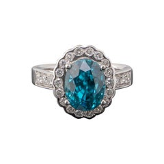 8.09 Carat Oval Blue Zircon and Diamond 18k Gold Engagement Ring