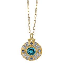 8.09 Carat Zircon, 0.24 Carats Diamonds & Sapphire 18 Karat Yellow Gold Necklace