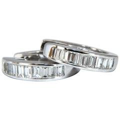 .80 Carat Natural Baguette Diamond Hoop Earrings 14 Karat