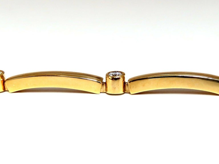Smooth High Shine Arch Link Bracelet .80ct. natural diamonds.  Rounds, Full cut brilliants  G colors Vs-2 clarity.  14kt. yellow gold  10.1 Grams.  7 Inches long (wearable length)  3.8mm wide  pressure clasp and safety catch   $6000 Appraisal