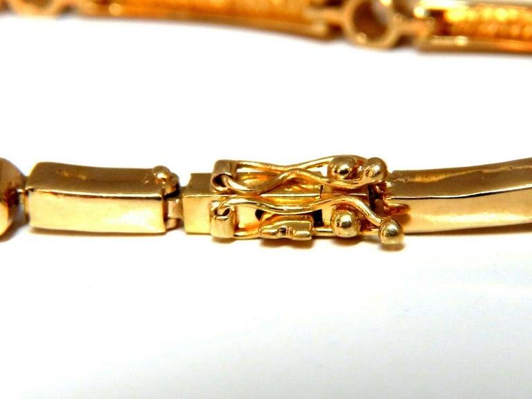 Round Cut .80 Carat Natural Round Diamonds Arch Bar Link Bracelet 14 Karat For Sale