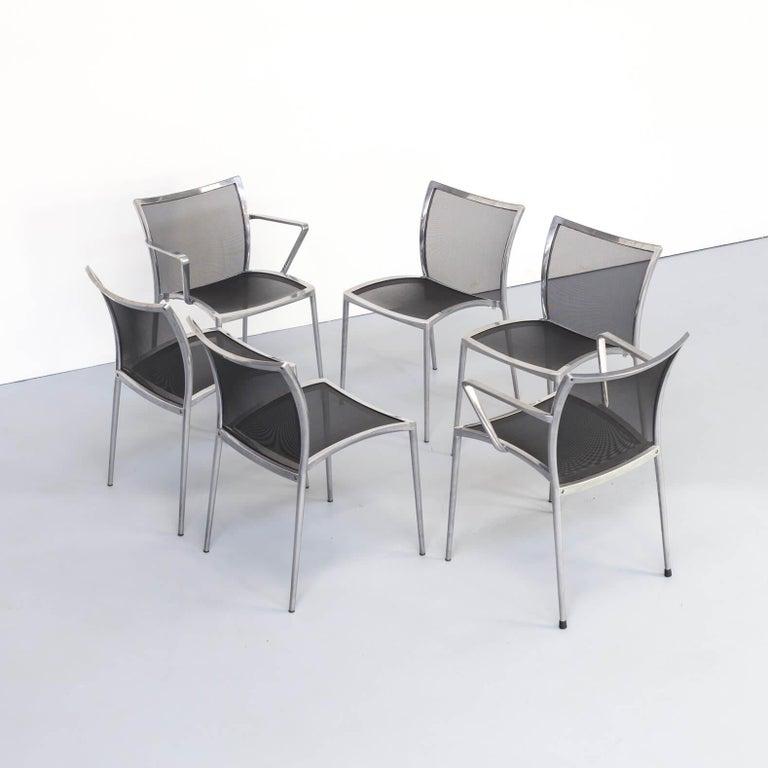 1980s Aluminium and Netwaeve Dining Chairs for Zanotta, Set of 6 4