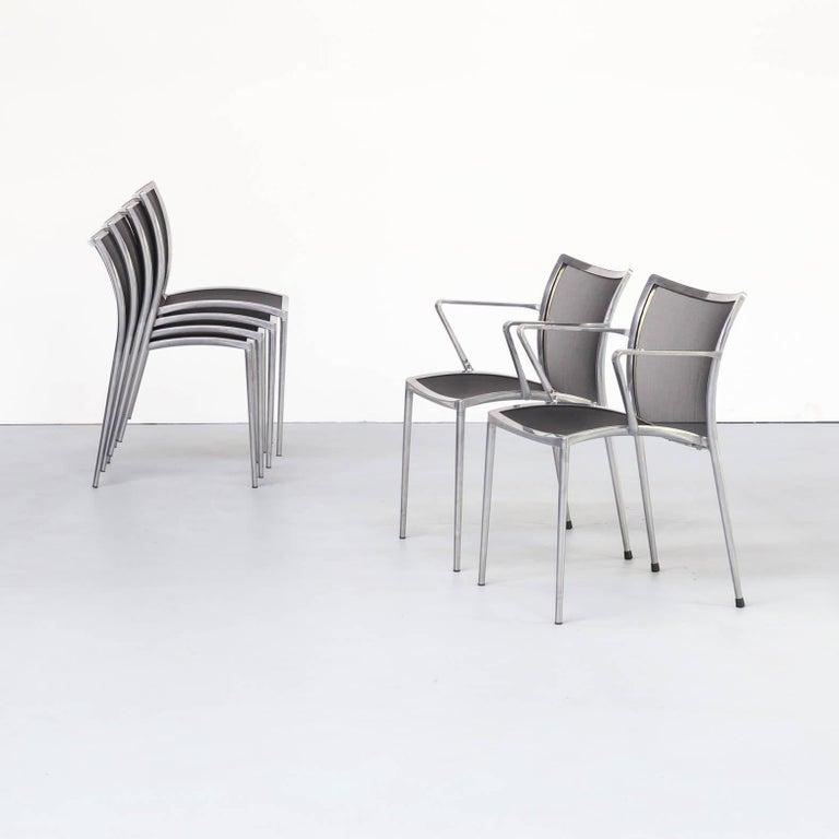 Italian 1980s Aluminium and Netwaeve Dining Chairs for Zanotta, Set of 6
