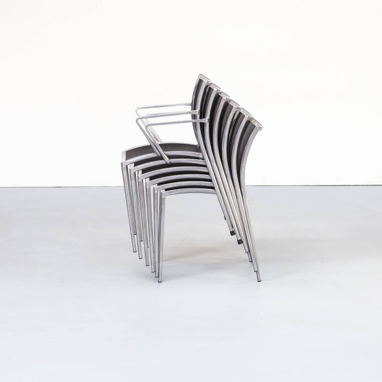 1980s Aluminium and Netwaeve Dining Chairs for Zanotta, Set of 6 In Good Condition In Amstelveen, Noord