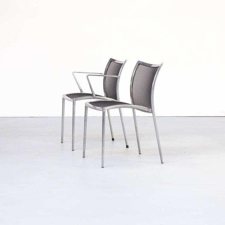 Late 20th Century 1980s Aluminium and Netwaeve Dining Chairs for Zanotta, Set of 6