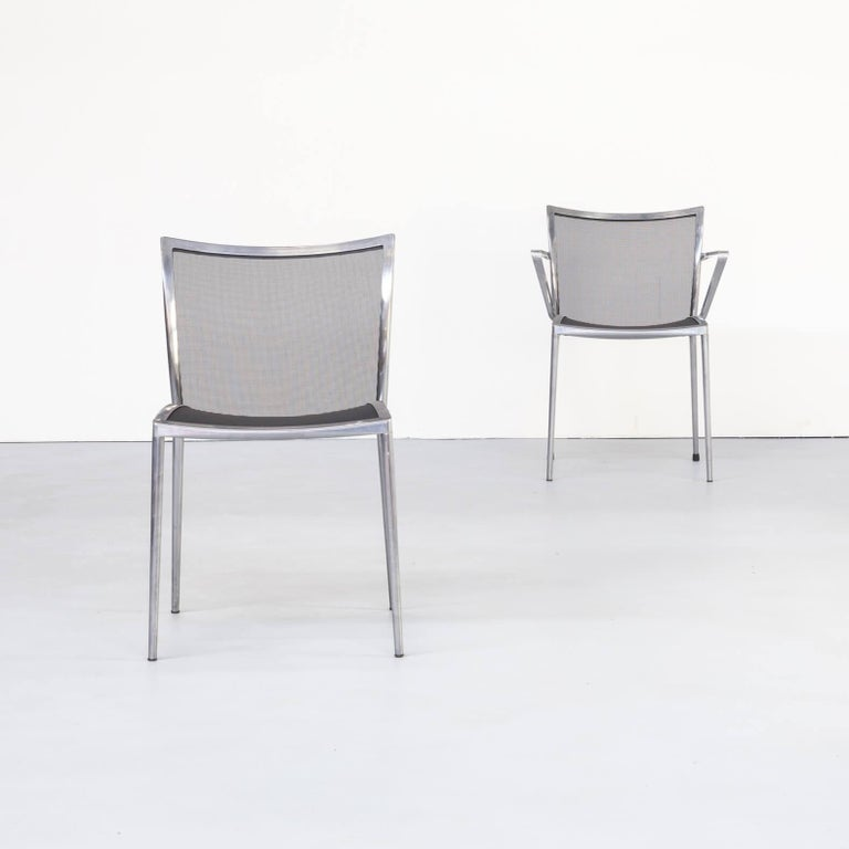 Aluminum 1980s Aluminium and Netwaeve Dining Chairs for Zanotta, Set of 6
