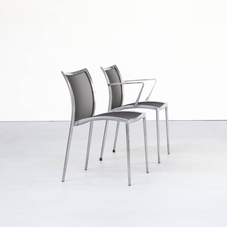 1980s Aluminium and Netwaeve Dining Chairs for Zanotta, Set of 6 1