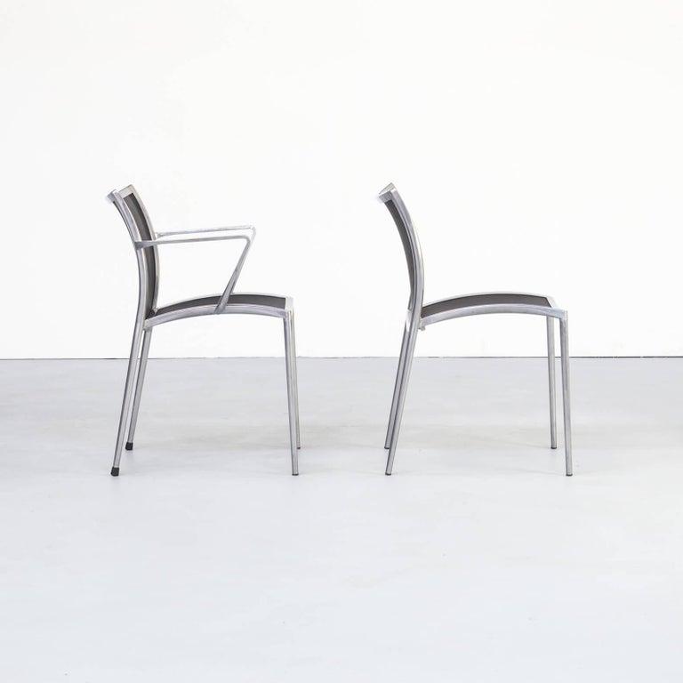 1980s Aluminium and Netwaeve Dining Chairs for Zanotta, Set of 6 2
