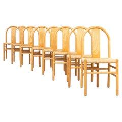 80s Annig Sarian Round Bend Wooden Dining Chair for Tisettanta Set/8