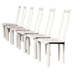 80s Antonello Mosca 'Royal' White Leather High Back Chairs for Ycami Set/6