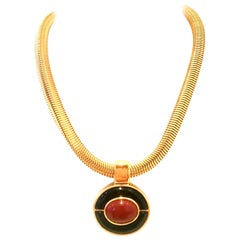 80'S Art Deco Style Gold & Enamel Abstract Pendant Necklace By, Monet
