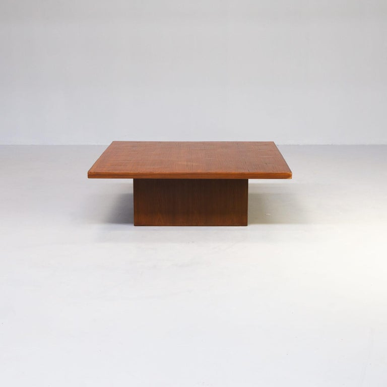 Most likely conceived and produced by the Belgian decorator & art dealer Axel Vervoordt in the 1980s. Rolls of bamboo were ordered in China to cover specially designed coffee tables. You can almost feel the design- ove for Japan and the Wabi Sabi