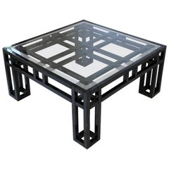 1980s Black Lacquer and Glass Geometric Square Coffee Table