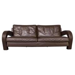 80s Brown Leather Sofa for B&B Italia