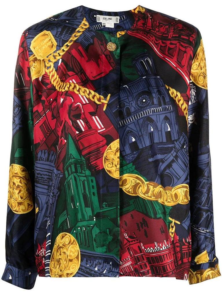 Black 80s Céline Vintage Silk Shirt  For Sale