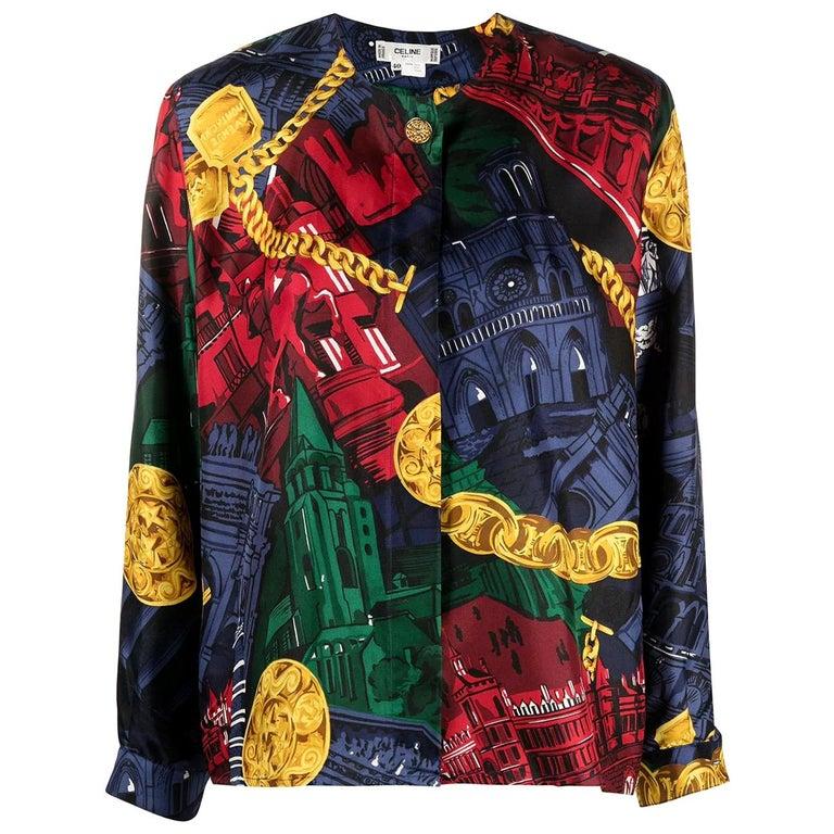 80s Céline Vintage Silk Shirt  For Sale