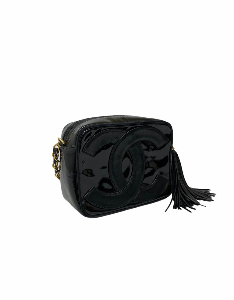 80's Chanel Black Leather Camera Bag In Good Condition For Sale In Torre Del Greco, IT