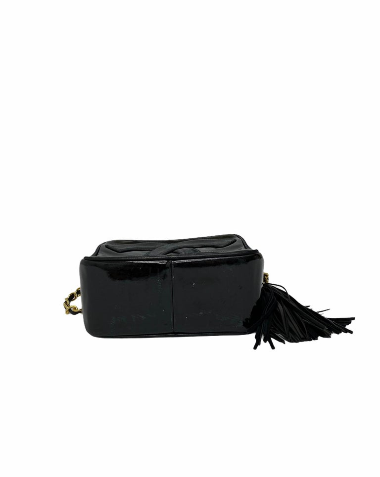 80's Chanel Black Leather Camera Bag For Sale 1