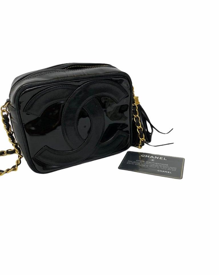 80's Chanel Black Leather Camera Bag For Sale 5