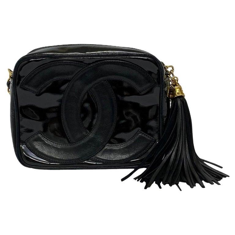 80's Chanel Black Leather Camera Bag For Sale
