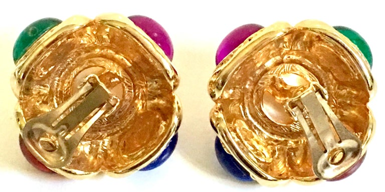 80'S Ciner Style Gold Poured Glass & Pearl Rhinestone Earrings For Sale 6