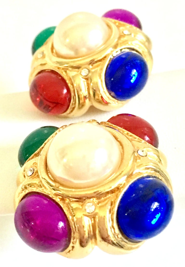 Women's or Men's 80'S Ciner Style Gold Poured Glass & Pearl Rhinestone Earrings For Sale