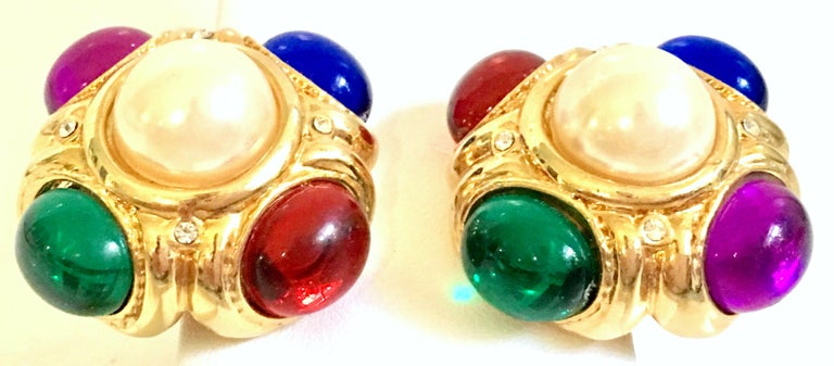 80'S Ciner Style Gold Poured Glass & Pearl Rhinestone Earrings For Sale 1