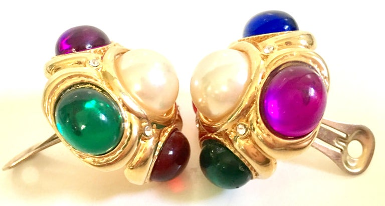 80'S Ciner Style Gold Poured Glass & Pearl Rhinestone Earrings For Sale 2