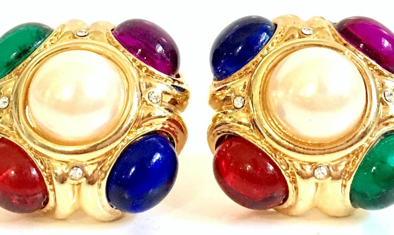 80'S Ciner Style Gold Poured Glass & Pearl Rhinestone Earrings For Sale 3