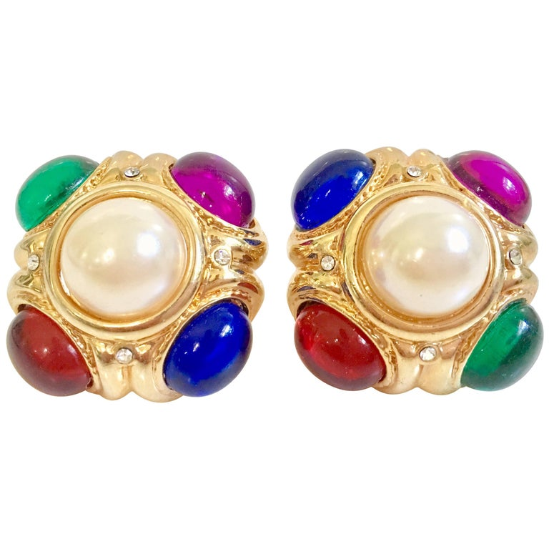 80'S Ciner Style Gold Poured Glass & Pearl Rhinestone Earrings For Sale