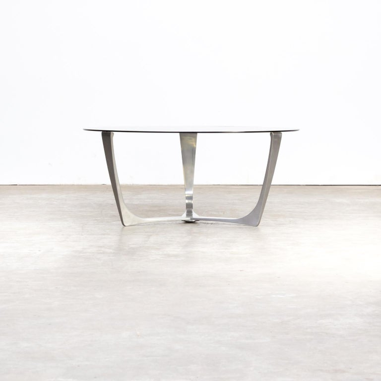 Salontafel Smoked Oak.1980s Full Aluminium Frame Coffee Table Smoked Glass Tabletop For