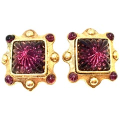 80'S Gold & Amethyst Austrian Crystal Earrings By, Oscar De La Renta