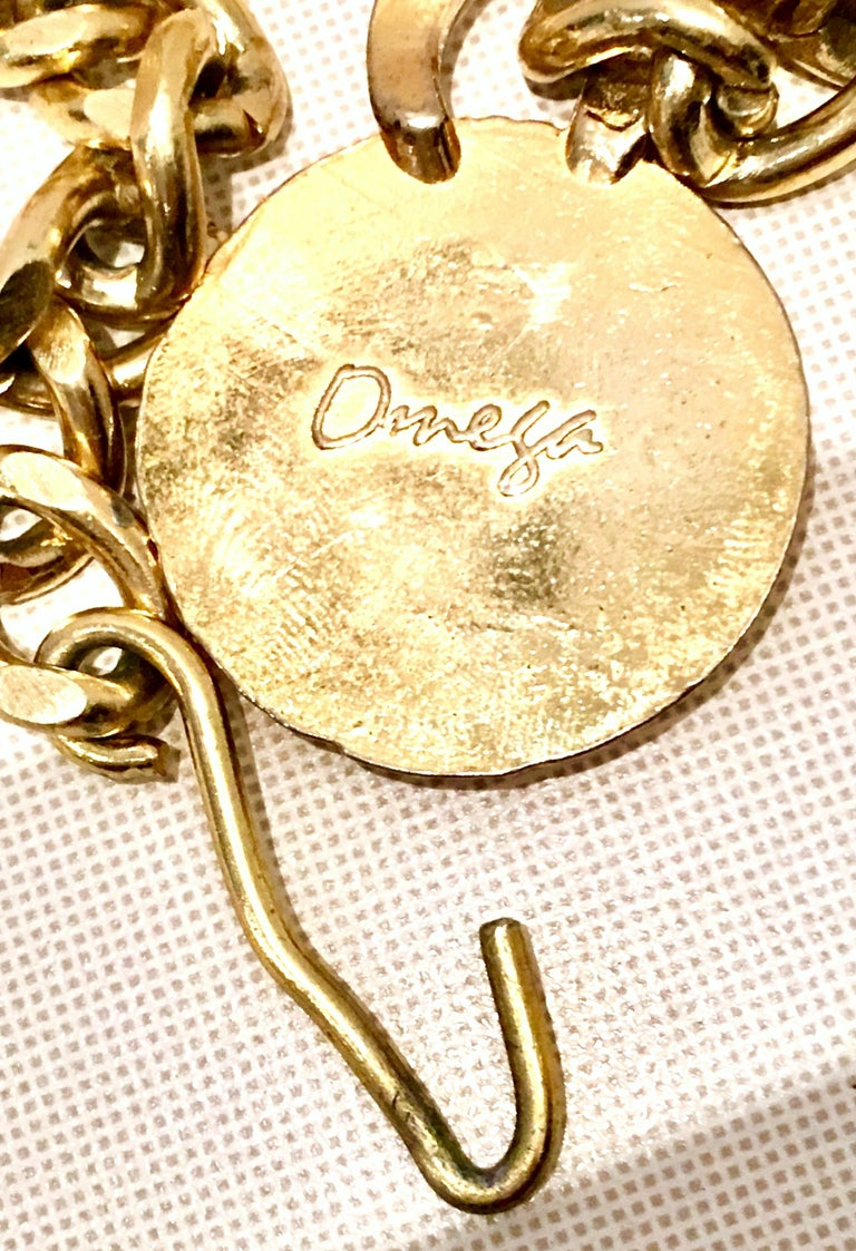 80'S Gold Plate & Roman Coin Chain Link Belt/Necklace By, Omega For Sale 5