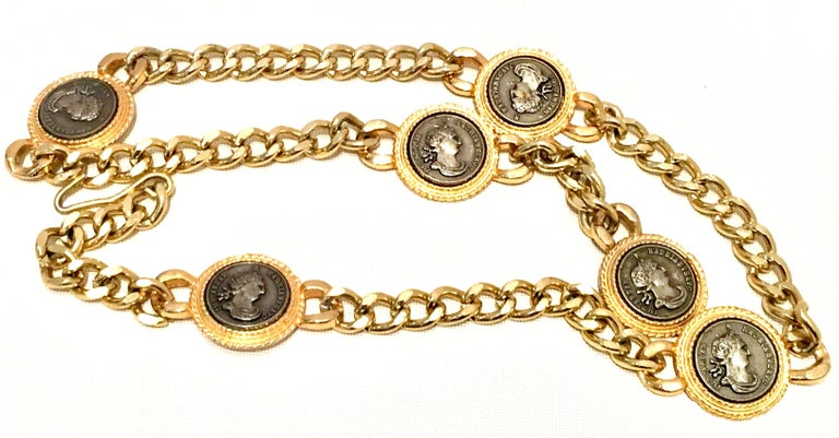 1980'S Gold Plate Chain Link & Roman Coin Medallion Belt Or Necklace By, Omega. Features Five, 1.5
