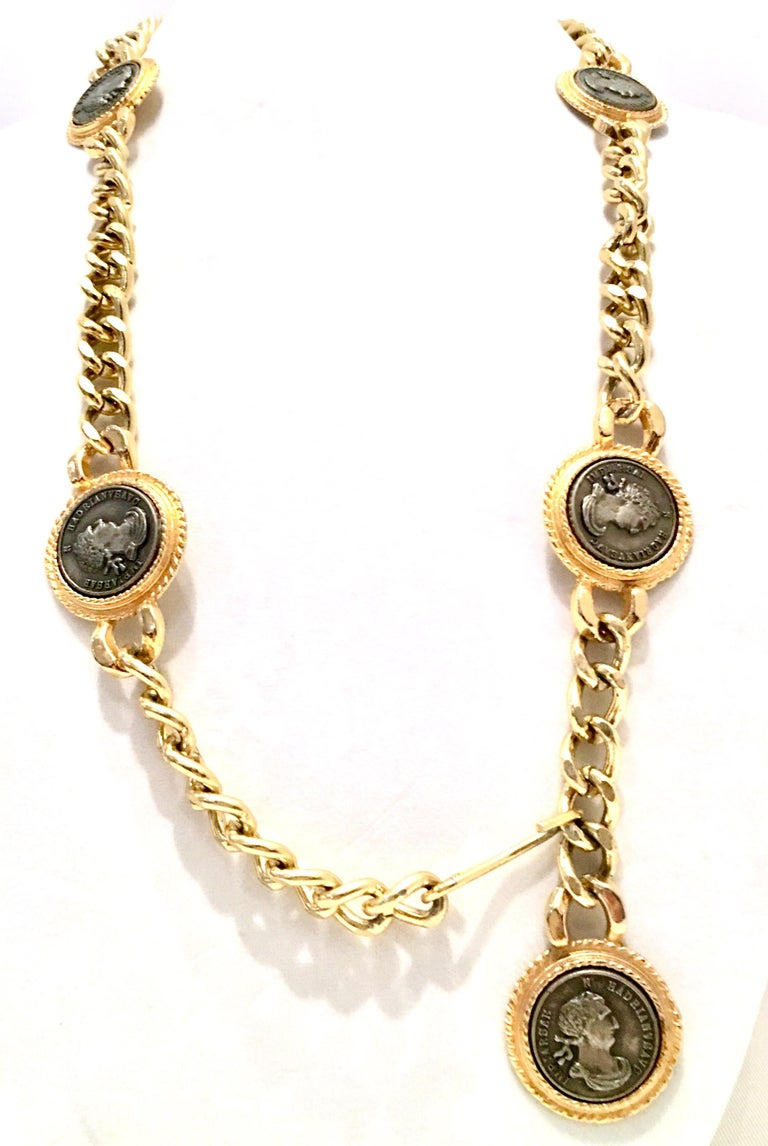 80'S Gold Plate & Roman Coin Chain Link Belt/Necklace By, Omega In Good Condition For Sale In West Palm Beach, FL