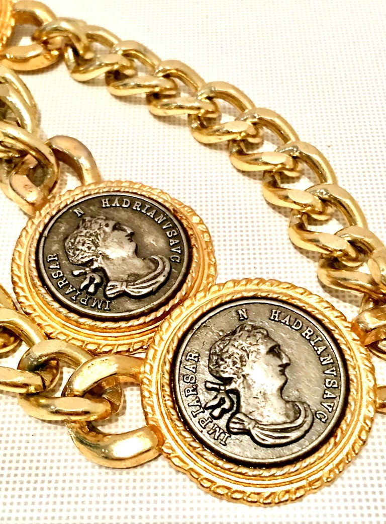 Women's or Men's 80'S Gold Plate & Roman Coin Chain Link Belt/Necklace By, Omega For Sale