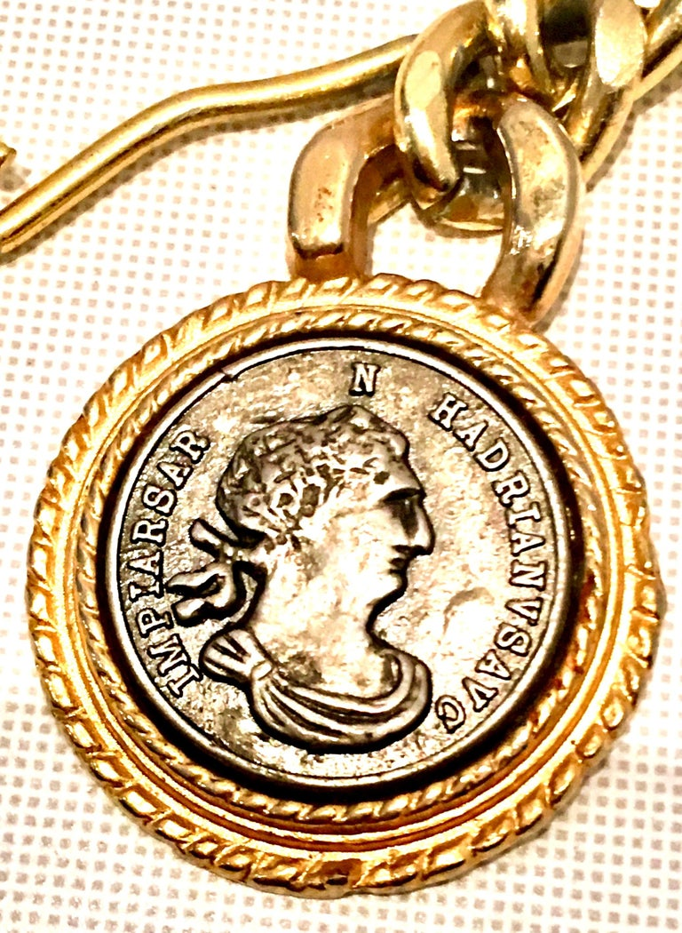 80'S Gold Plate & Roman Coin Chain Link Belt/Necklace By, Omega For Sale 2