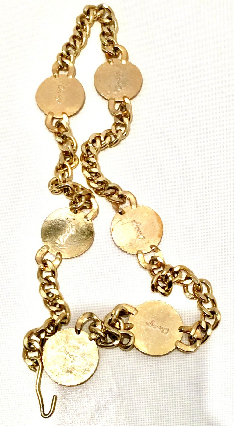 80'S Gold Plate & Roman Coin Chain Link Belt/Necklace By, Omega For Sale 4